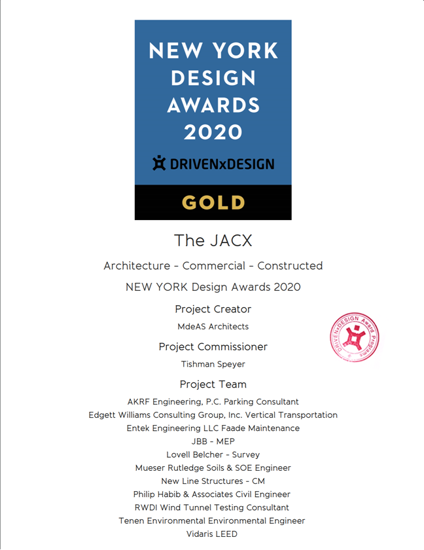 Picture of Stamped Certificate 2020 New York Design Awards - postage Australia